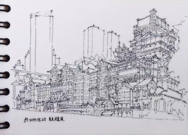 纽约,当时重庆最具标志的建筑物之一,大一的时候建筑渲染课画的此建筑,今日重新画了一遍。不过现在看来,重庆的标志性建筑太多了,城市发展的确实很快。  重庆-江北嘴-金融中心招商楼,第一次在公交上看到这个楼觉得特别简洁,特别有设计感,后来去深圳上班才发现这是公司的作品。
