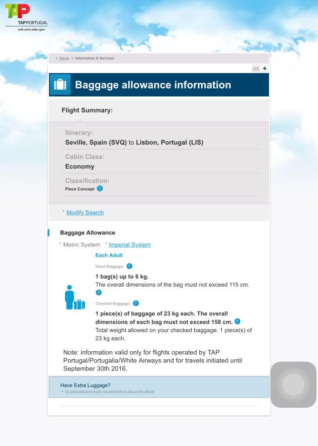 葡萄牙航空托运行李规定