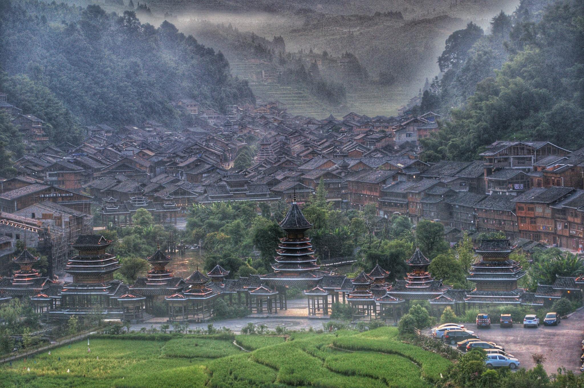 侗寨马克笔手绘
