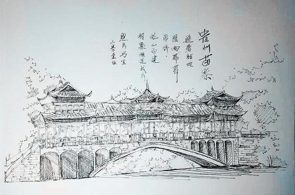 学校风景手绘素描